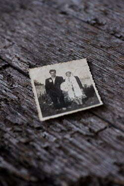 Galya Ivanova WEDDING PHOTO OF RETRO COUPLE ON TABLE Miscellaneous Objects