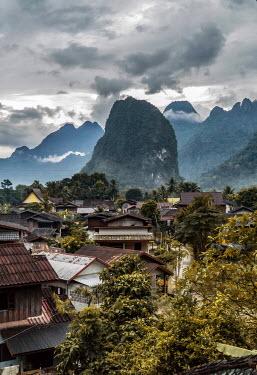 Jaroslaw Blaminsky ASIAN TOWN WITH MOUNTAINS Rocks/Mountains