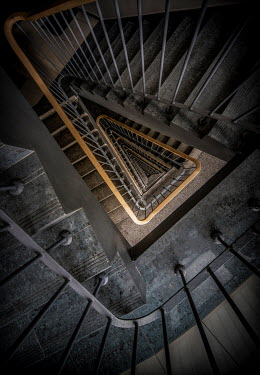 Jaroslaw Blaminsky EMPTY METAL STAIRCASE FROM ABOVE Stairs/Steps