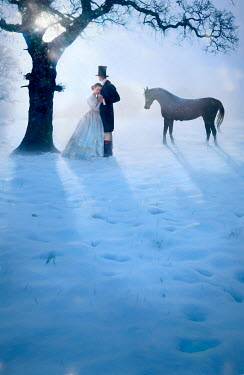 Lee Avison VICTORIAN COUPLE WITH HORSE BY TREE IN SNOWY COUNTRYSIDE Couples