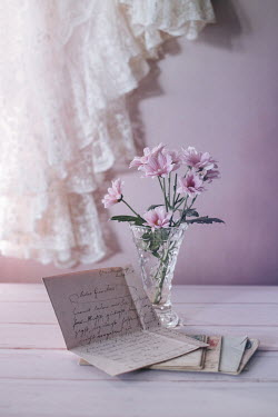 Magdalena Wasiczek LETTERS ON TABLE WITH PINK FLOWERS AND LACE Miscellaneous Objects