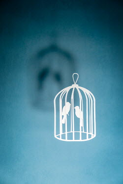 Peter Chadwick WHITE CUT-OUT BIRDS IN CAGE WITH SHADOW Miscellaneous Objects