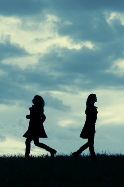 Magdalena Russocka silhouettes of two modern women walking on countryside