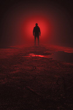 Andrei Cosma SILHOUETTED MAN WITH GLOWING RED LIGHT OUTDOORS Men