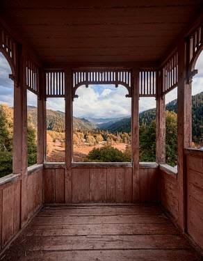 James Kerwin WOODEN LOOKOUT TOWER WITH AUTUMN LANDSCAPE Interiors/Rooms