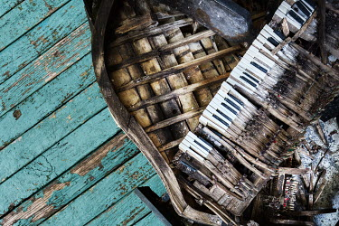 James Kerwin DECAYING GRAND PIANO WITH WOODEN FLOORBOARDS Musical Instruments