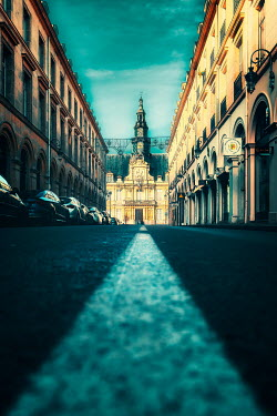 David Keochkerian CITY STREET WITH GRAND BUILDINGS AND CARS Streets/Alleys