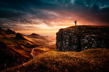 David Keochkerian MAN ON CLIFF PHOTOGRAPHING LANDSCAPE ST SUNSET Men