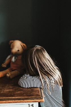 Matilda Delves LITTLE GIRL WITH TEDDY BEAR ON TABLE Children
