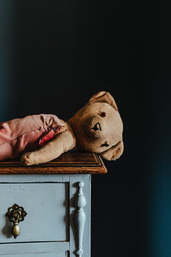Matilda Delves OLD TEDDY BEAR LYING ON CHEST OF DRAWERS Miscellaneous Objects
