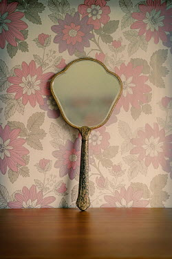 Angela Ward-Brown Hand mirror and wall with floral wallpaper Miscellaneous Objects