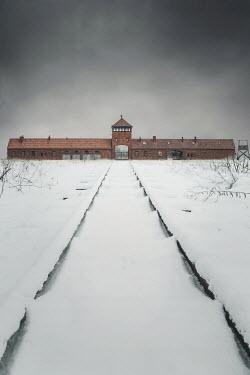 Joanna Czogala Auschwitz Concentration Camp under snow during winter