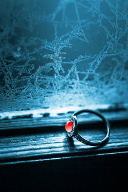 Magdalena Russocka engagement ring on windowsill with frozen glass