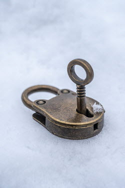 Stephen Mulcahey Padlock and key in snow