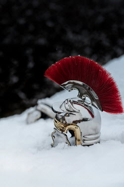 Stephen Mulcahey Roman centurion helmet in snow