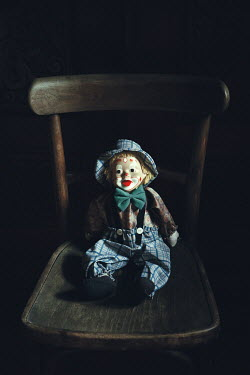 Magdalena Russocka vintage pierrot doll sitting on old chair