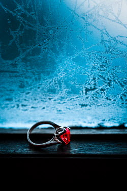 Magdalena Russocka engagement ring with ruby on window sill