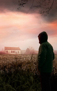 Drunaa Hooded man in corn field looking at house