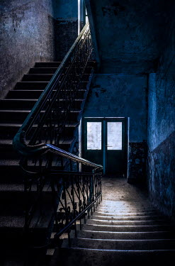 Jaroslaw Blaminsky STAIRCASE IN DARK DERELICT BUILDING Stairs/Steps