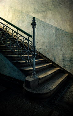 Jaroslaw Blaminsky OLD WROUGHT IRON STAIRCASE IN SHADOW Stairs/Steps
