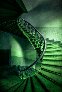 Jaroslaw Blaminsky GREEN SPIRAL STAIRCASE IN OLD BUILDING Stairs/Steps
