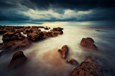 David Keochkerian MISTY SEASCAPE WITH ROCKS AND STORMY SKY Seascapes/Beaches