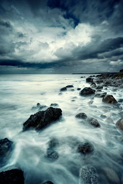David Keochkerian MISTY SEA WITH ROCKS AND STORMY SKY Seascapes/Beaches