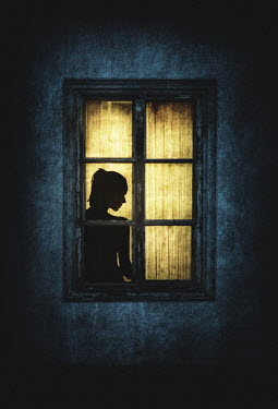 Nic Skerten Silhouette of woman in illuminated window of house