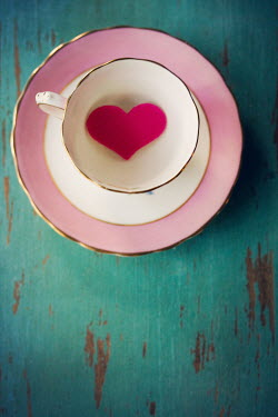 Susan Fox Tea cup with pink heart