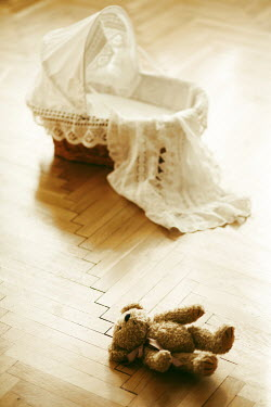 Kerstin Marinov EMPTY BABY BASKET WITH TEDDY ON FLOOR Miscellaneous Objects