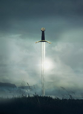 Mark Owen SILVER SWORD IN FIELD WITH MISTY MOUNTAINS Weapons