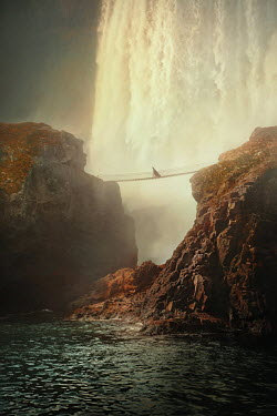 Terrence Drysdale WOMAN ON FOOTBRIDGE WITH CLIFFS AND WATERFALL Women
