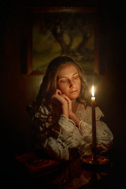 Terrence Drysdale HISTORICAL GIRL DAYDREAMING WATCHING CANDLE Women
