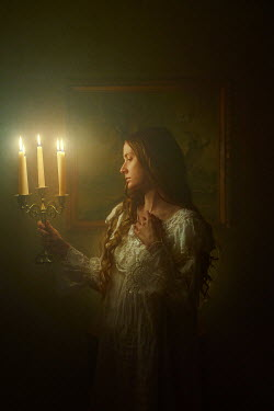 Terrence Drysdale WOMAN IN NIGHTDRESS HOLDING CANDELABRA Women