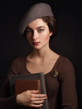 Alexey Kazantsev WOMAN WITH BERET CARRYING BOOKS Women