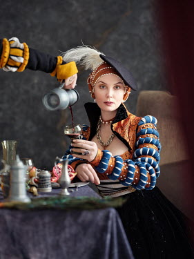 Alexey Kazantsev SERVANT POURING WINE FOR TUDOR LADY Women