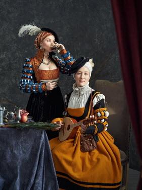 Alexey Kazantsev TUDOR WOMEN DRINKING AND PLAYING MUSIC Women