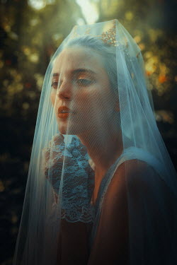 Terrence Drysdale WOMAN IN WEDDING VEIL AND LACY GLOVES OUTDOORS Women