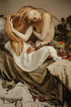 Irene Gittarelli GIRL WITH LONG RED HAIR SITTING WITH FRUIT Women