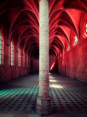 David Keochkerian EMPTY HISTORICAL BUILDING WITH RED LIGHT Religious Buildings