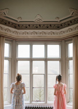 Shelley Richmond TWO REGENCY WOMEN WITH DARK HAIR BY WINDOW Women