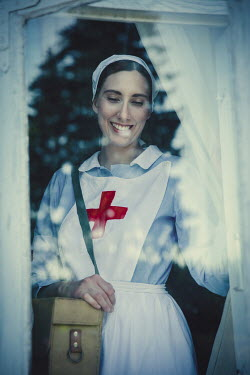 Natasza Fiedotjew smiling wartime nurse looking out window Women
