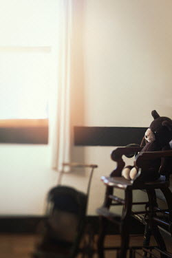 Lisa Bonowicz BROWN TEDDY BEAR IN ANTIQUE CHAIR BY WINDOW Miscellaneous Objects