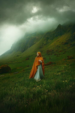 Terrence Drysdale WOMAN IN CAPE BY MISTY MOUNTAINS Women