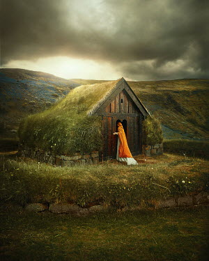 Terrence Drysdale WOMAN WITH CAPE ENTERING TINY BUILDING IN COUNTRYSIDE Women