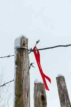 Matilda Delves RED RIBBON HANGING ON BARBED WIRE Miscellaneous Objects