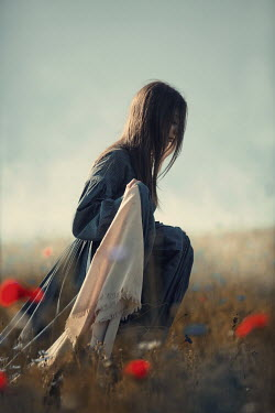 Magdalena Russocka historical woman walking in meadow