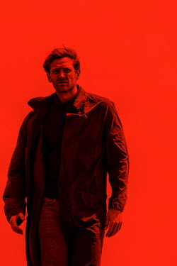 CollaborationJS SERIOUS MAN IN COAT WITH RED BACKGROUND Men
