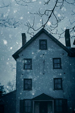 Lisa Bonowicz HOUSE IN SNOW AT DUSK Houses