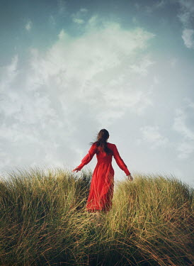 Mark Owen GIRL WITH RED DRESS IN WINDY FIELD Women